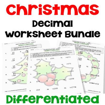 Christmas Decimal Worksheet Bundle (3 Levels)