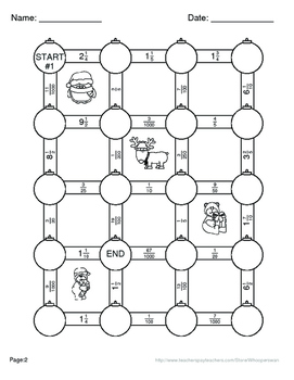 Christmas Math: Decimals to Fractions Maze