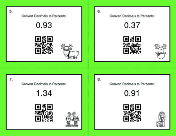 Christmas Math: Decimals to Percents QR Code Task Cards