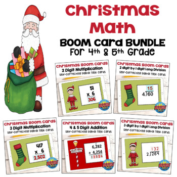 Christmas Math Digital Task Card BUNDLE for 4th and 5th Grades - BOOM Cards