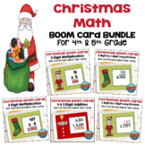 Christmas Math BOOM Card BUNDLE for 4th and 5th Grades
