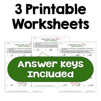 Christmas Dividing Decimals Worksheets (Differentiated with 3 Levels)