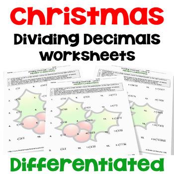 Christmas Dividing Decimals Worksheets (3 Levels)