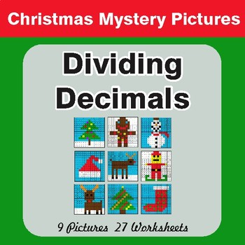 Christmas Math: Dividing Decimals - Color-By-Number Math Mystery Pictures