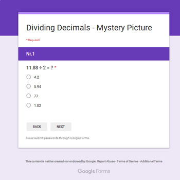 Christmas Math: Dividing Decimals - Mystery Picture - Google Forms