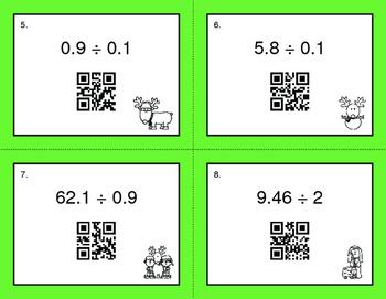 Christmas Math: Dividing Decimals QR Code Task Cards