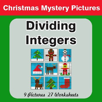 Christmas Math: Dividing Integers - Color-By-Number Mystery Pictures
