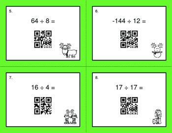 Christmas Math: Dividing Integers QR Code Task Cards
