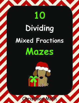 Christmas Math: Dividing Mixed Fractions Maze