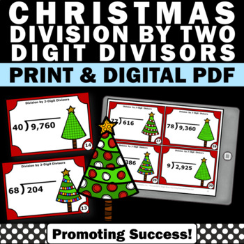 Christmas Math Activities Division with No Remainders Task Cards 5th Grade