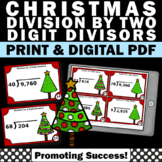 5th Grade Christmas Math Activities, Division with 2 Digit Divisors Task Cards