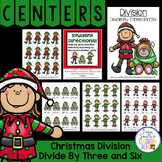 Christmas Math Division Center Games Divide By Three and Six