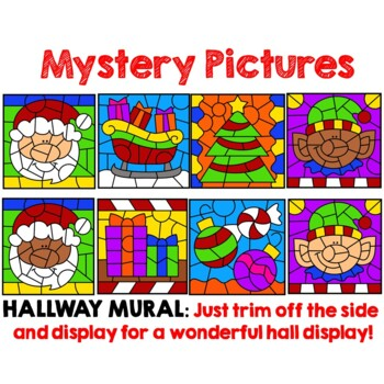 Color by Number Division Facts Christmas Math Mystery Pictures BUNDLE