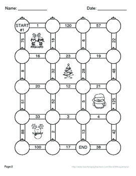 Christmas Math: Equivalent Fractions Maze