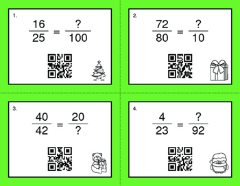 Christmas Math: Equivalent Fractions QR Code Task Cards