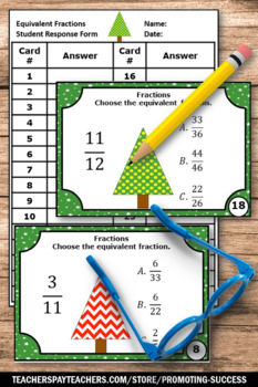 Equivalent Fractions Task Cards Christmas Math Activities 3rd Grade Math Review