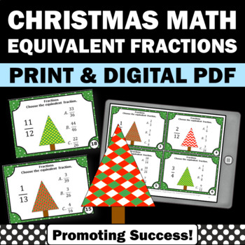 Christmas Math Equivalent Fractions Task Cards 3rd Grade G