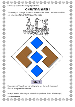 Christmas Math - 'Find all possibilities' Maze Challenge Investigation Problem