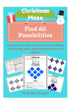 Christmas Math - 'Find all possibilities' Maze Challenge I