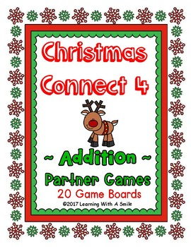 Christmas Math Fluency with a Twist ~ CONNECT 4 Addition ~ 20 Game Boards