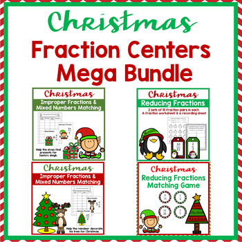 Christmas Math Fractions Mega Bundle- 4 sets included