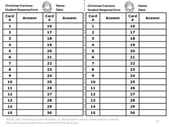 Christmas Math Activities Games 3rd Grade Fraction Task Cards Special Education