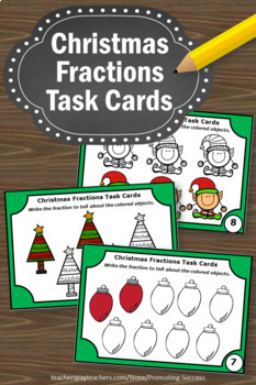Christmas Math Activities, Fraction Task Cards, 3rd Grade Math Centers SCOOT