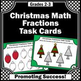 Christmas Math Activities, Fraction Task Cards, 3rd Grade
