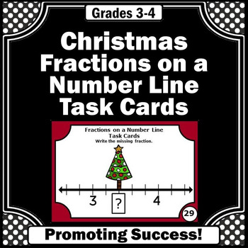 Christmas Math Activities, Fractions on a Number Line Task Cards, Fraction Games