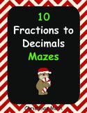 Christmas Math: Fractions to Decimals Maze