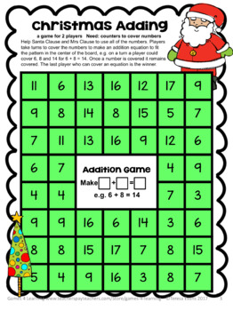 Free Christmas Activities: Christmas Math Games