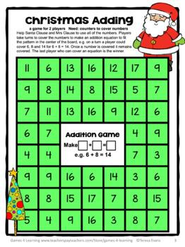 Free Christmas Activities: Christmas Math Games for a Christmas Math Center