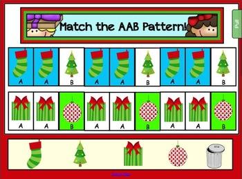 Christmas Math Freebie for Smartboard - AAB Patterns