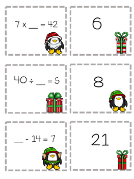 Missing Numbers Christmas Math Game