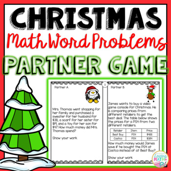Christmas Math Game - Word Problems for 3rd and 4th Grades
