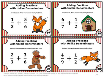 Christmas Math Activities, Adding Fractions Task Cards, Gingerbread Man Theme