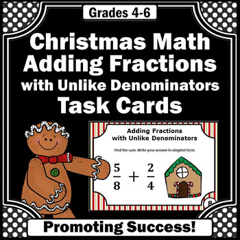 Christmas Math Adding Fractions Gingerbread Man Task Cards