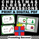 6th Grade Christmas Math Activities, Solving Algebraic Expressions Task Cards