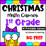 NO PREP Christmas Math Games for First Grade with Reindeer, Santa, Gifts & More