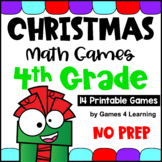 NO PREP Christmas Math Games for Fourth Grade with Gifts, Reindeer, Santa & More