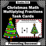 Multiplying Fractions Task Cards, 5th Grade Christmas Math Centers Activities