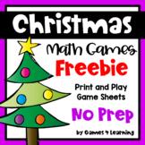 Free Christmas Math Games - No Prep Activities