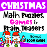 Christmas Activities: Christmas Math Games, Puzzles and Brain Teaser Task Cards