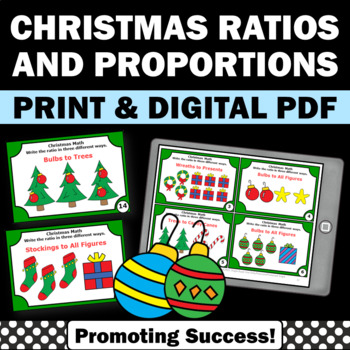 Christmas Math Centers Ratios Task Cards for 6th 7th Grade Games & Activities