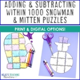 Winter Mitten and Snowman Math Game Puzzles | Adding and Subtracting within 1000