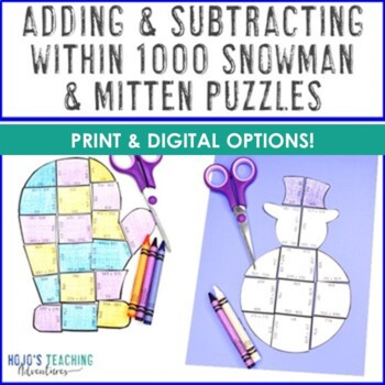 Winter Mitten and Snowman Math Game Puzzles   Adding and Subtracting within 1000