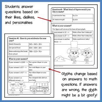New Year's Math Goofy Glyph (3rd Grade Common Core)
