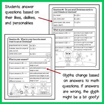 Christmas Math Goofy Glyph (4th Grade Common Core)