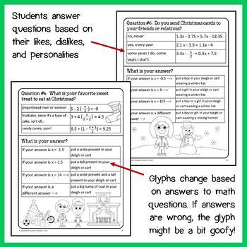 Christmas Math Goofy Glyph (8th Grade Common Core)