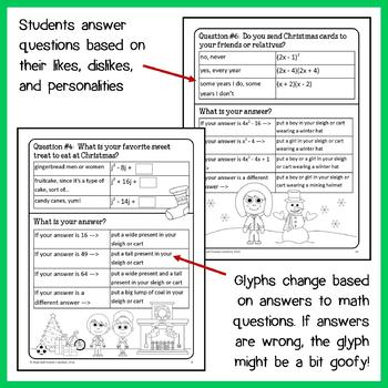 Christmas Math Goofy Glyph (Algebra Common Core)